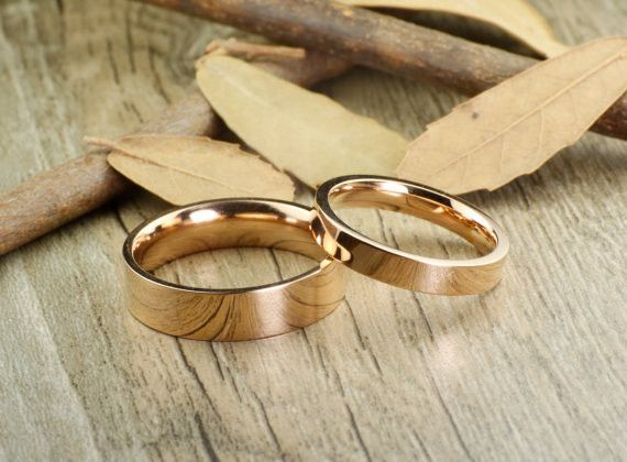 Handmade Rose Gold Flat Plain Matching Wedding Bands Couple Rings