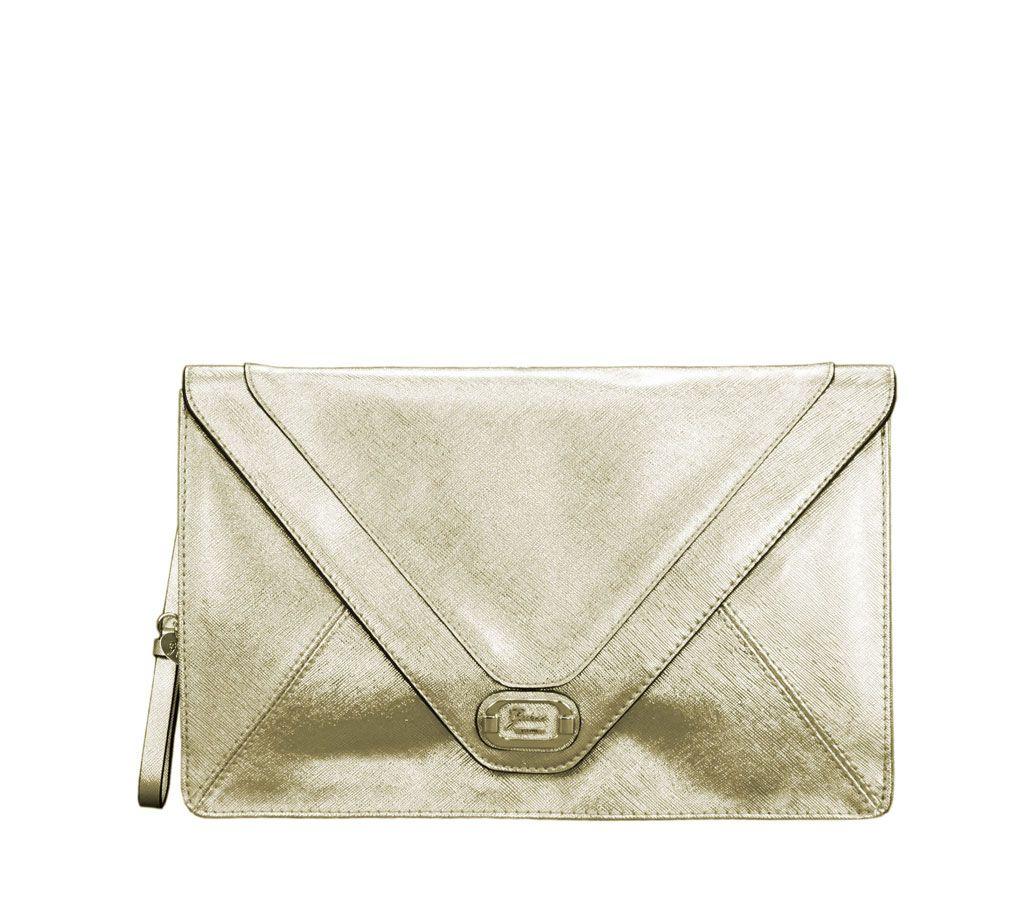 Estilo Mano La De Envelope Clutch Oro Rae Saffiano Cuerina Bolso bf7ygY6
