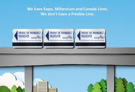 Ha, oh #Translink!     We have Expo, Millennium and Canada Lines. We don't have a Freebie Line.