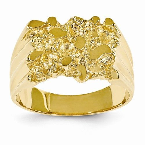 14k Yellow Gold Polished Mens Nugget Ring Gold Nugget Ring 14k Yellow Gold White Gold Rings