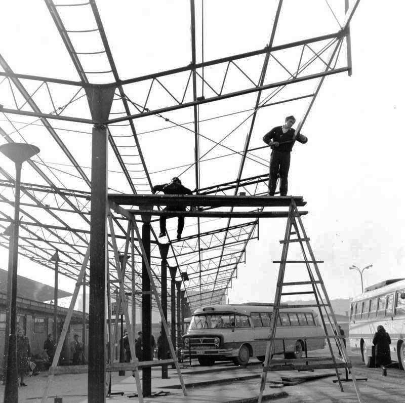 Zagreb 1966 Drziceva Autobusni Kolodvor Postavljanje