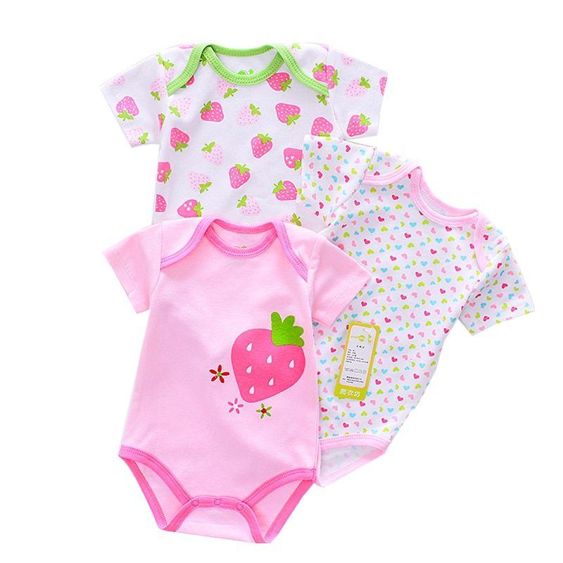Toddler Baby Boys Bodysuit Short-Sleeve Onesie Strawberry Print Rompers Autumn Pajamas
