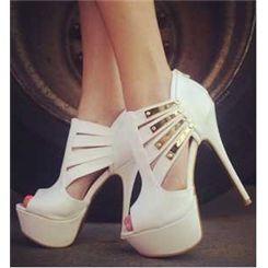 e85da864af3b89 Deluxe White Sequin Peep Toe Platform Heel Girl Women Spring Shoes Stiletto  Sandals- ericdress.com 10888640