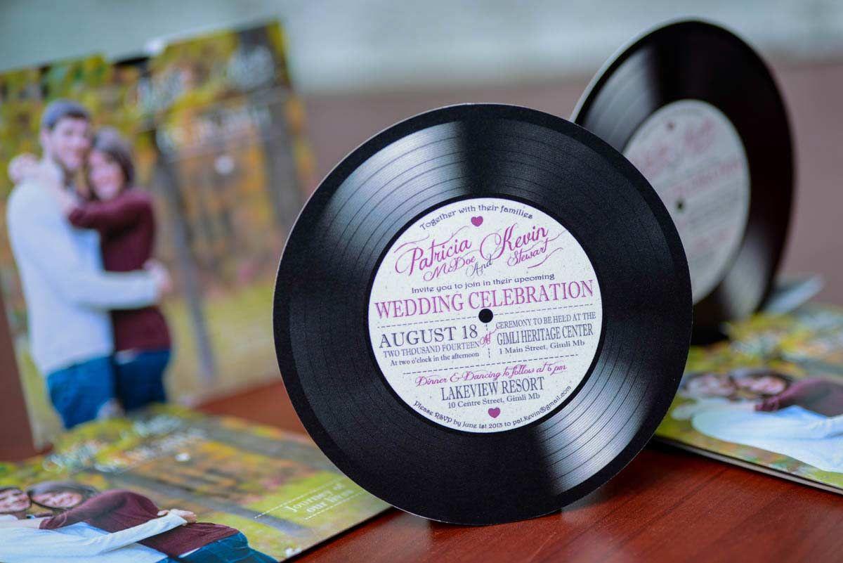 wedding stickers for invitations%0A Custom vinyl record music wedding invitations From Winnipeg  Canada   EMPIRE INVITES