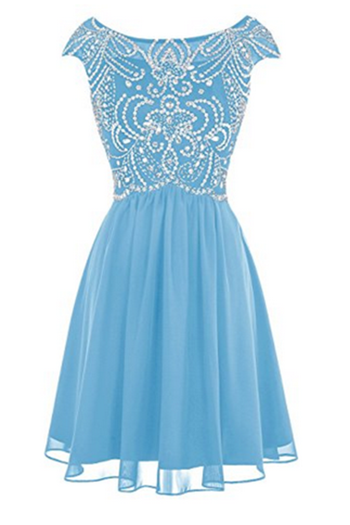 fe13ca6b8b Beaded prom dress, chiffon prom dress, beautiful light blue chiffon short  prom dress with sleeves