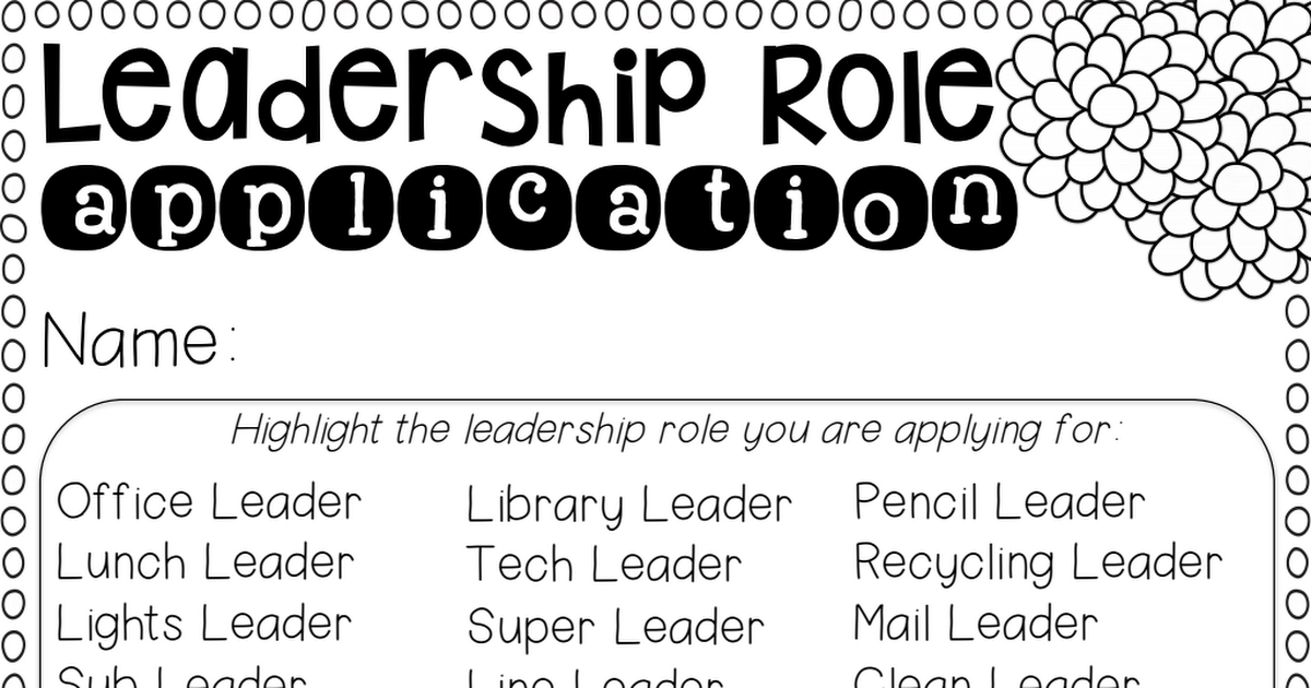 Leadership Role Application Final pdf | School organization | Leader