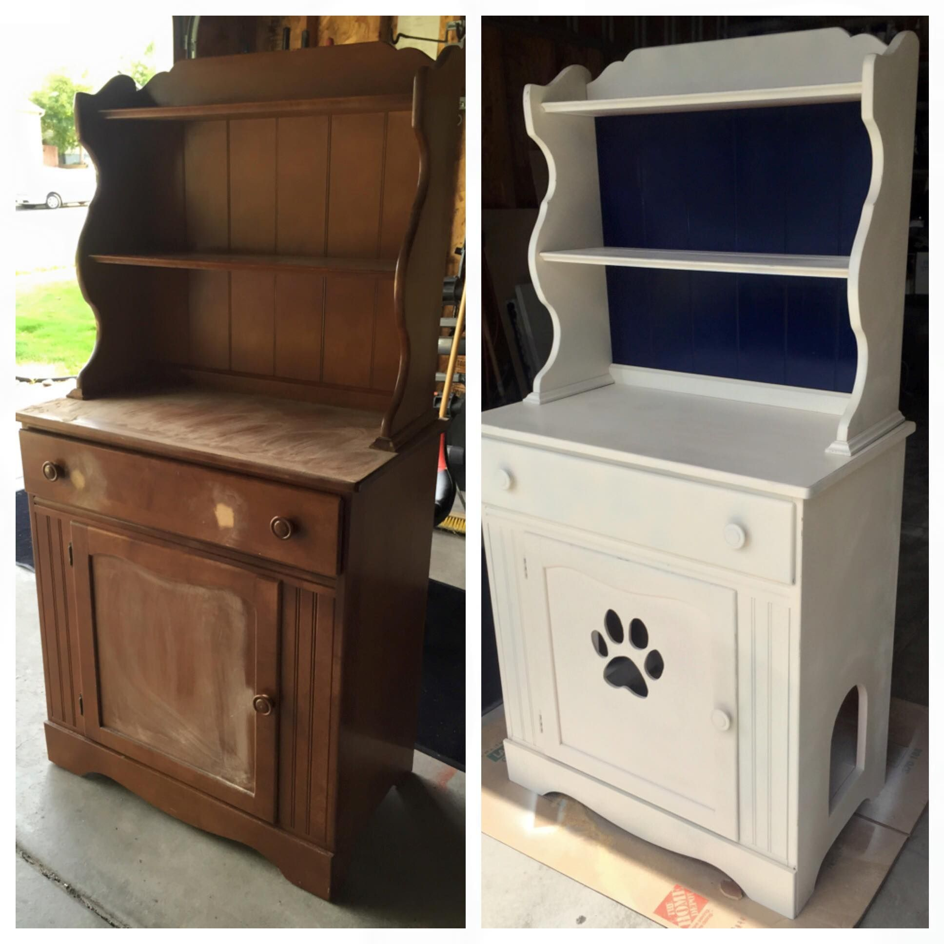 diy refurbished a cabinet to hide the cat litter box just the photo but i 39 m loving the look. Black Bedroom Furniture Sets. Home Design Ideas