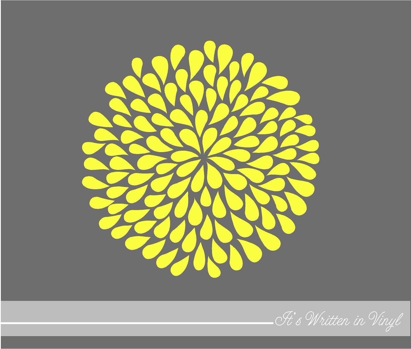 Bright Yellow Mum Flower 9 in Vinyl Lettering by itswritteninvinyl ...
