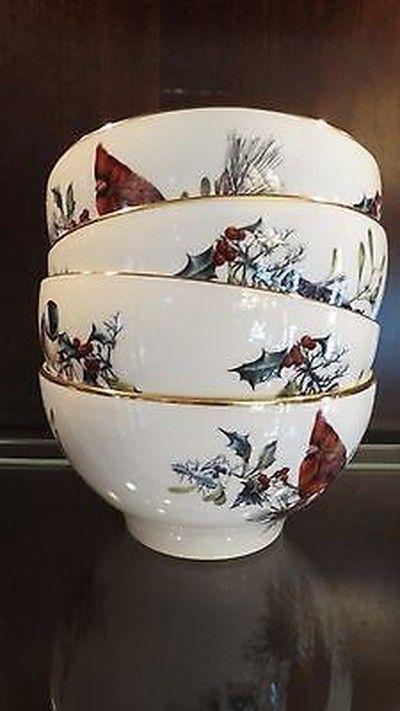 Lenox winter greetings set of 4 ricedessert bowls ice cream lenox winter greetings set of 4 ricedessert bowls m4hsunfo
