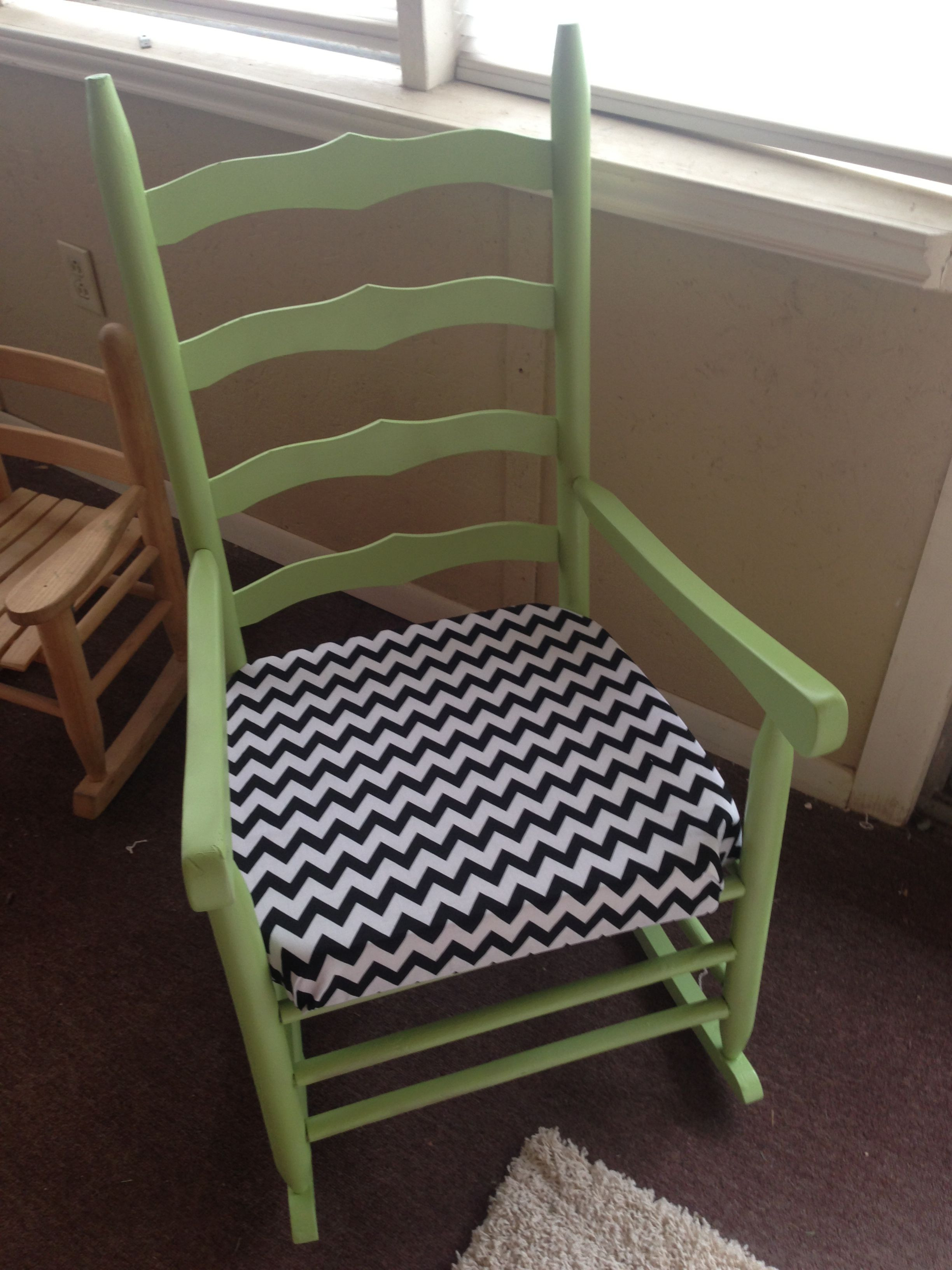 Awesome Adorable Freshly Painted Wooden Rocking Chair Cushion Added Gmtry Best Dining Table And Chair Ideas Images Gmtryco