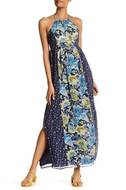 Floral Long Silk Dress