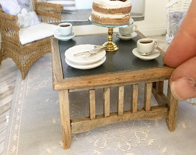 Miniature oak coffee table - square with zinc look top - Dollhouse
