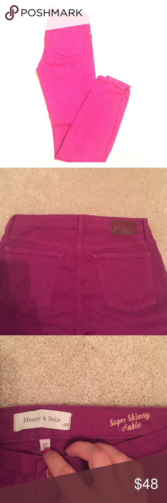 Henry and Belle super skinny ankle Hardly worn Henry and Belle denim. Size 27. Wine color. Super skinny ankle. Awesome fit. Run true to size Henry and Belle Jeans Skinny