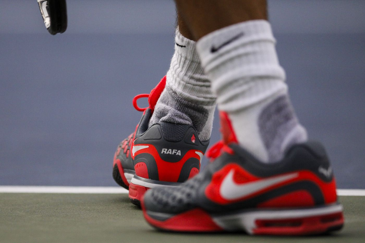 A Detail Of The Nike Sneakers Worn By Rafael Nadal While Playing Against Richard Gasquet In Their Semifinal Match On Day 13 Of The Sneakers Sneakers Nike Nike
