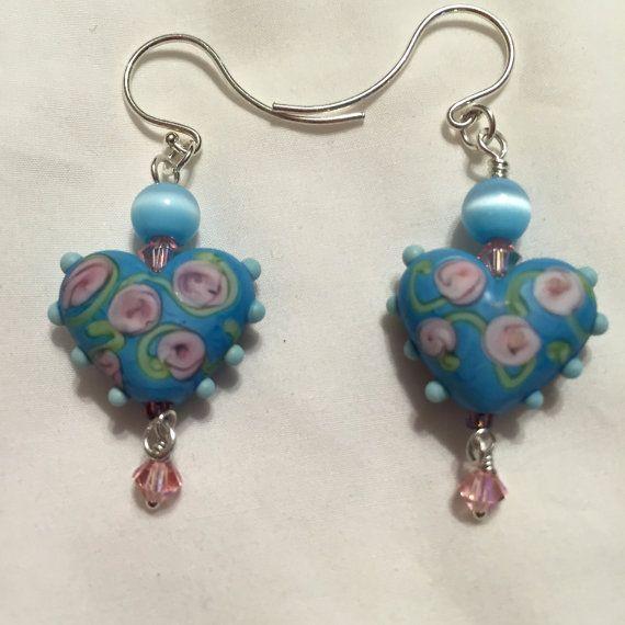 Pink Rosebuds Heartbeat Earrings by WithTheseHandsCreate on Etsy