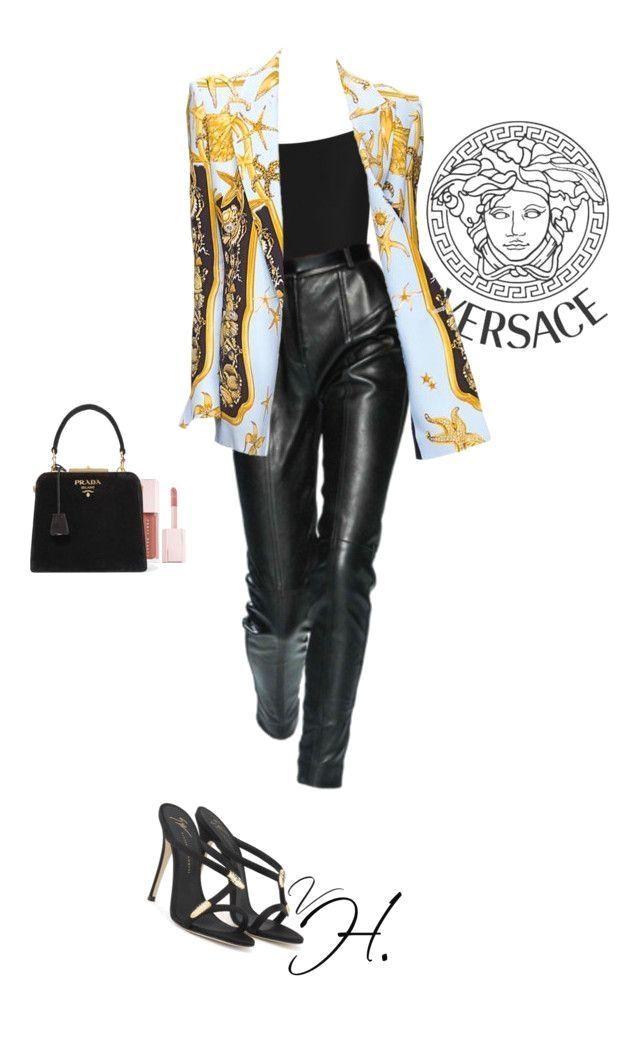 Outfit Inspiration 2018 Versace Blazer Lederhose Pantoletten Prada Bag Fenty Beaut  Outfit Inspiration 2018 Versace Blazer Lederhose Pantoletten Prada Bag Fenty Beaut
