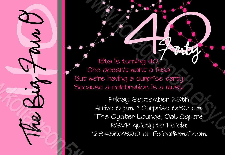 Birthday Invitation 40th Invitations