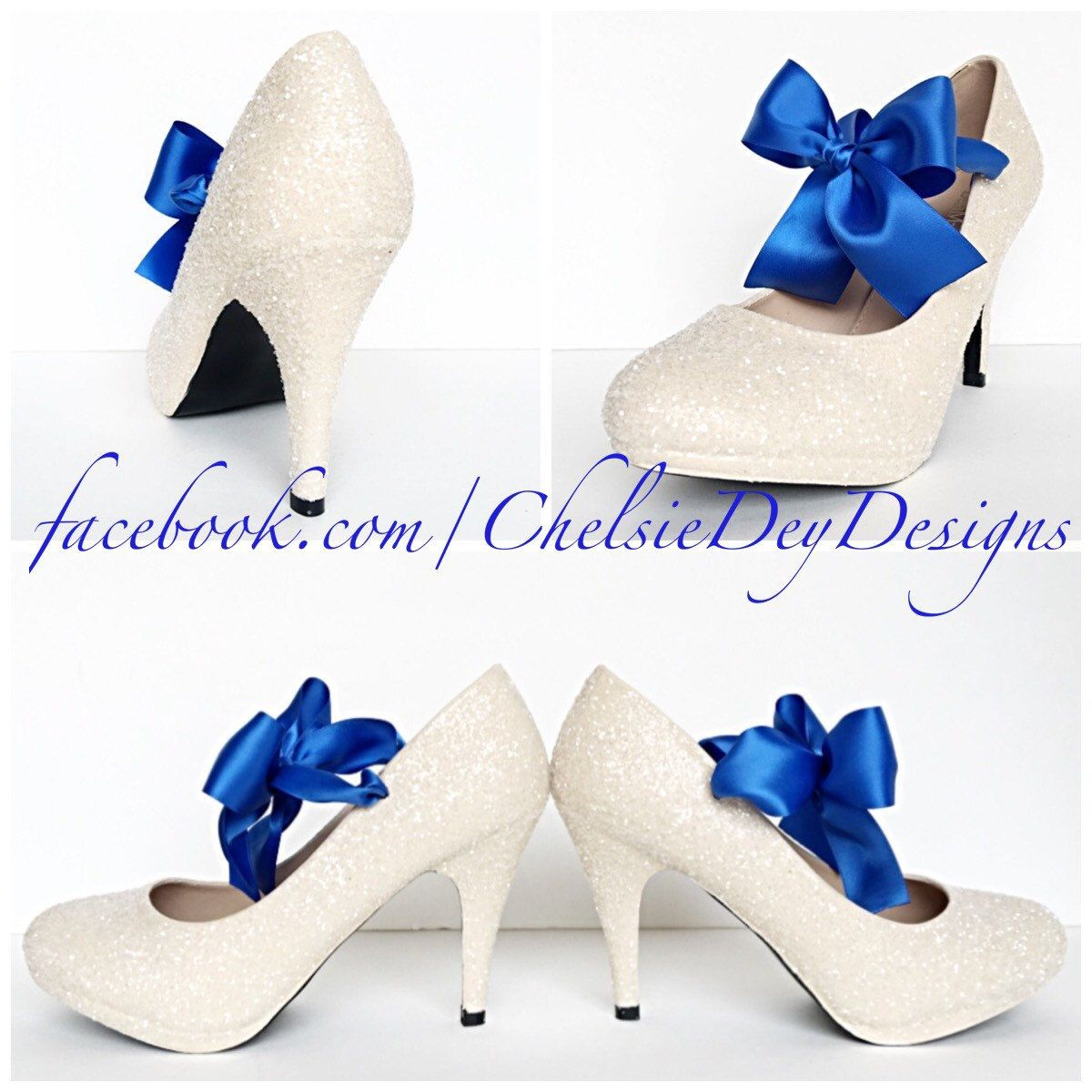 f White Ivory High Heels Glitter Pump High Heels Royal Blue