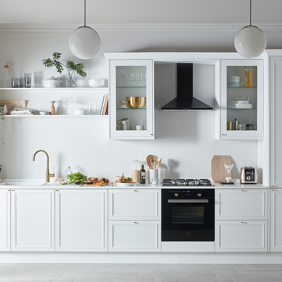 These gloss white doors are striking but simple at the
