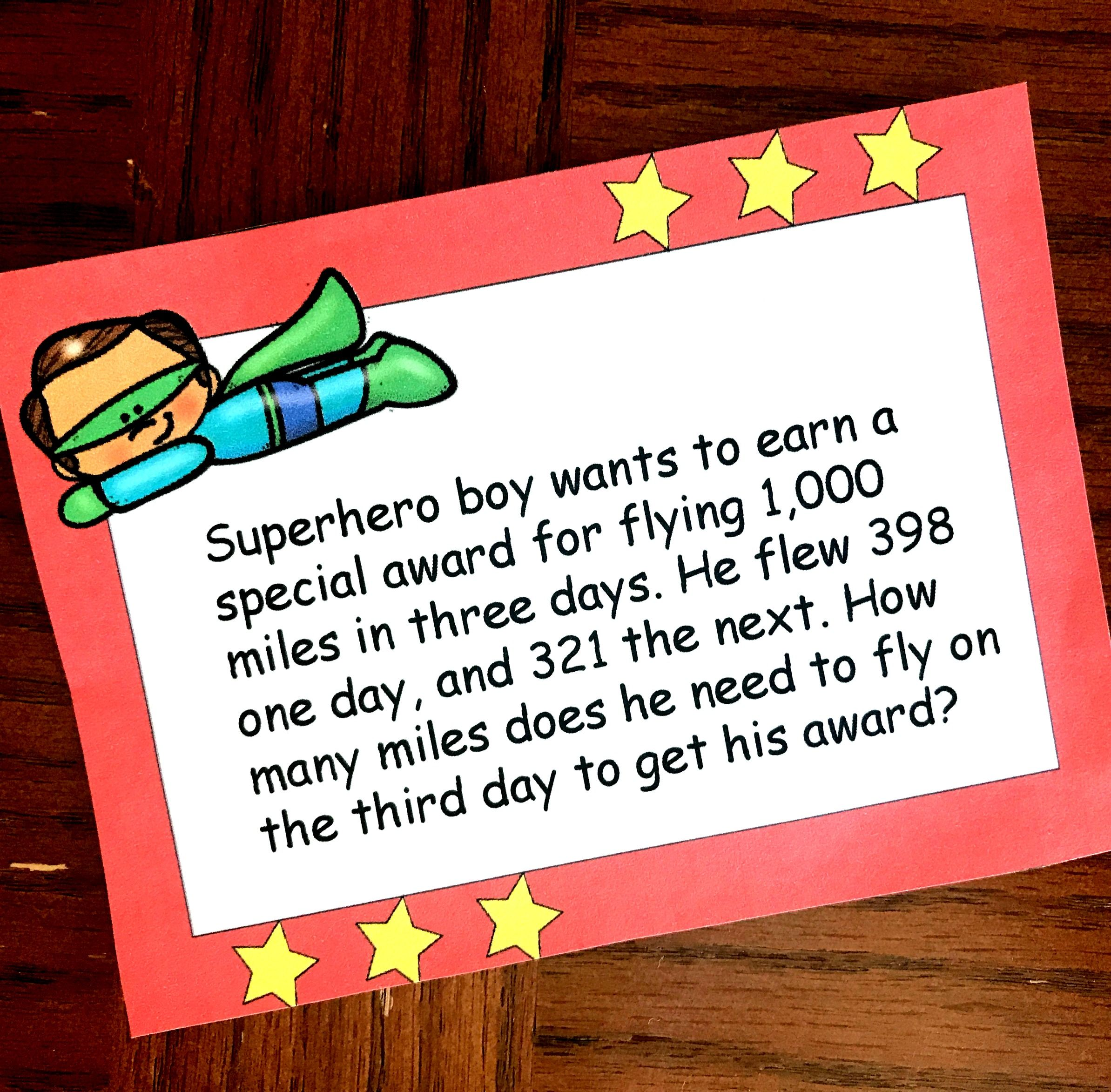 12 Free Superhero Two Step Word Problems Worksheets Or