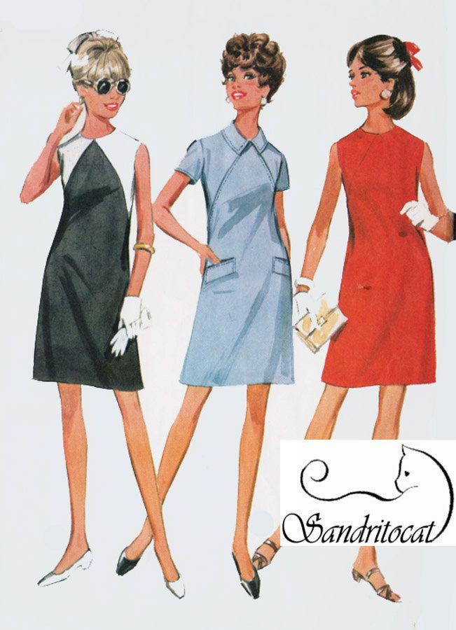 1960s MOD ColorBlock Shift Dress McCalls 9255 Vintage 60s Sewing ...