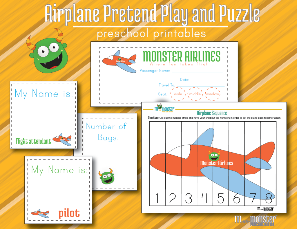Airplane pretend play printable FREE Math Transportation theme