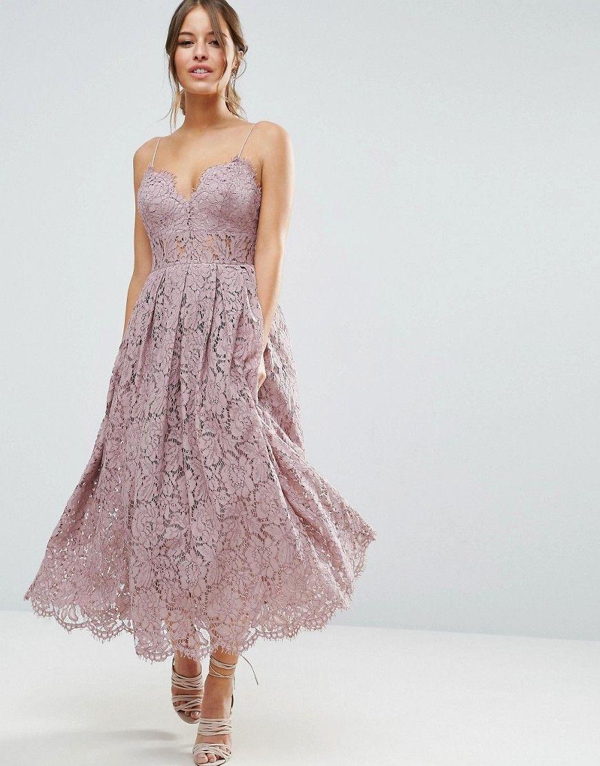 Asos Petite Lace Cami Midi Prom Dress Purple Lace Dress Vintage Prom Dresses Midi Dress Formal
