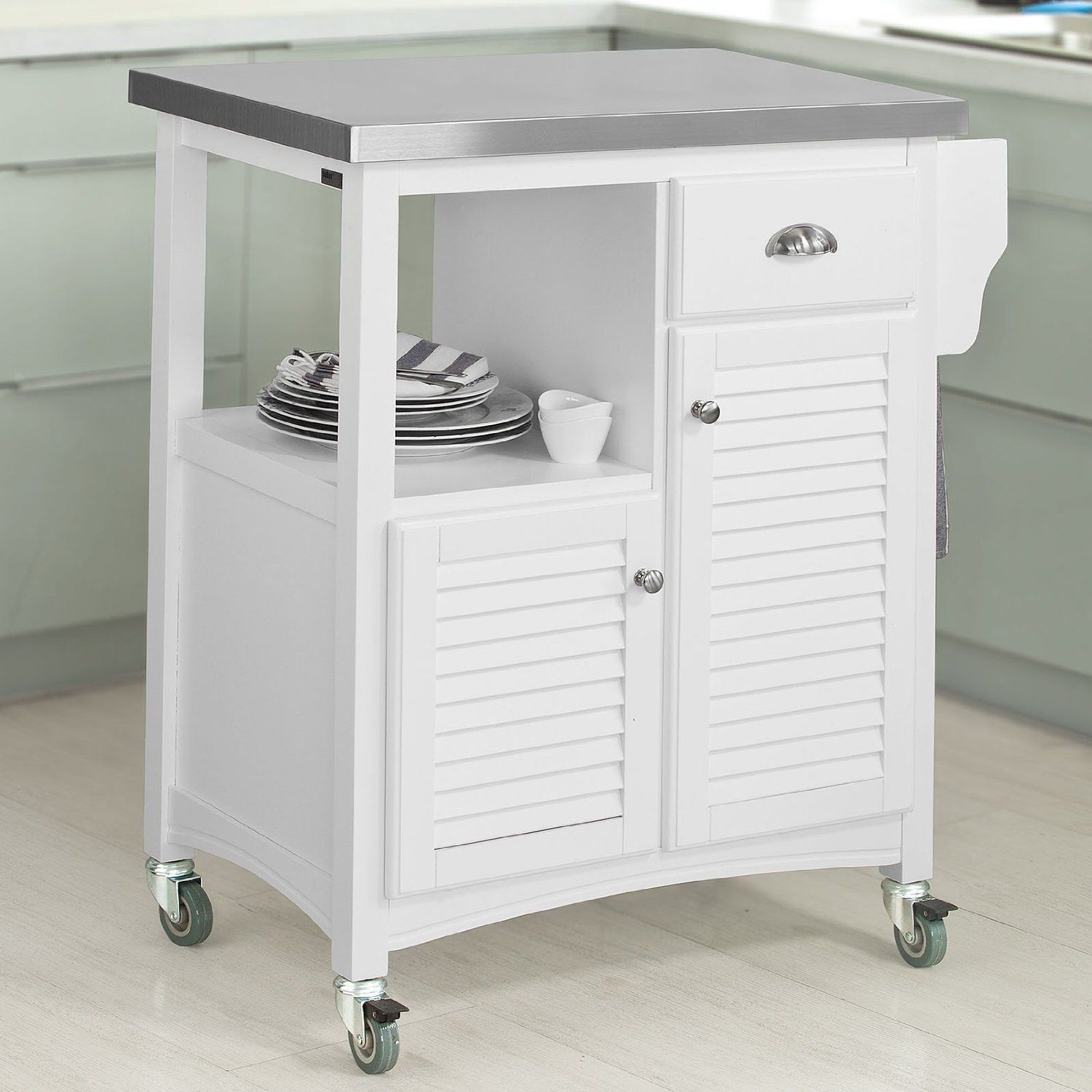 SoBuy Kitchen Storage Serving Trolley Cart with Stainless Steel ...