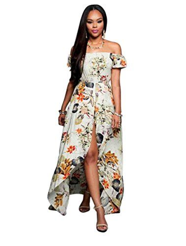 daa848877a7 Women Off Shoulder Floral Print Short Sleeve Maxi Skirt Overlay Rompers  Jumpsuit L -- Want to know more