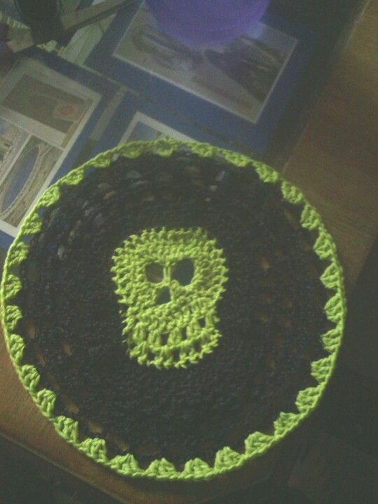 Crochet skull doily for my sisters coffee table