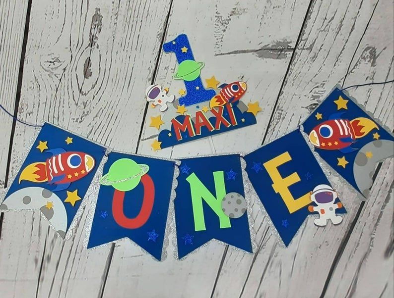 Space Theme High Chair One Banner First Birthday Space Theme Etsy Space Theme High Chair Banner First Birthdays