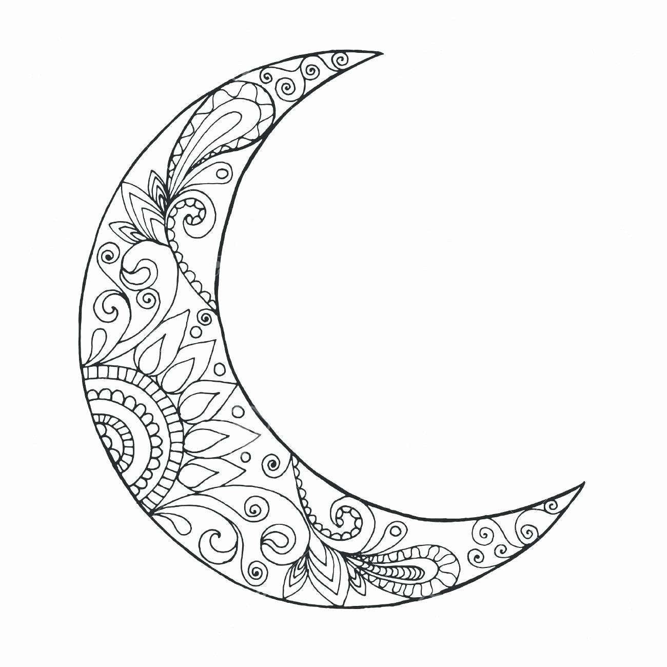 Moon Coloring Pages For Adults New Half Moon Coloring Page