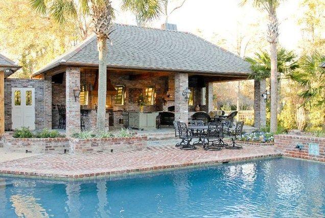 Brick Pool Deck Brick Columns Brick Hardscaping Angelo S Lawn Scape Of Louisiana Baton Rouge La Pool Houses Pool House Designs Outdoor Design
