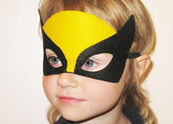 Wolverine Super Hero Halloween Mask Yellow and Black childrens comic costume boys girls soft felt Dress Up play accessory  sc 1 st  Pinterest & Wolverine Super Hero Halloween Mask Yellow and Black childrens comic ...