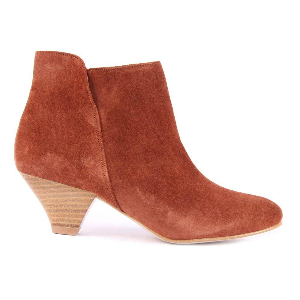 Elna Suede Heeled Ankle Boots Camel