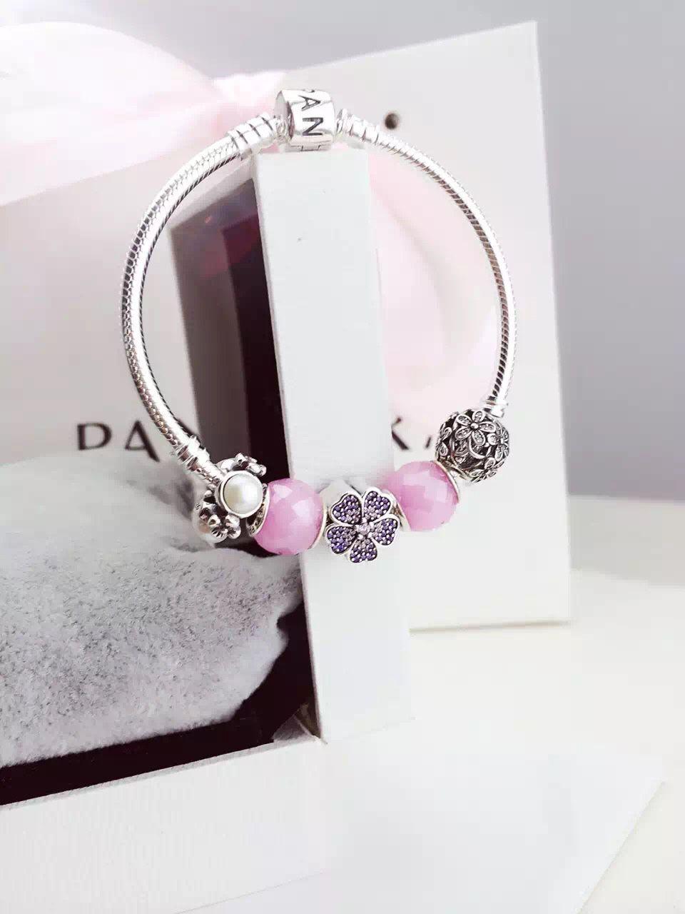 50% OFF!!! $159 Pandora Charm Bracelet Pink White. Hot Sale!!! SKU: CB01785 - PANDORA Bracelet Ideas