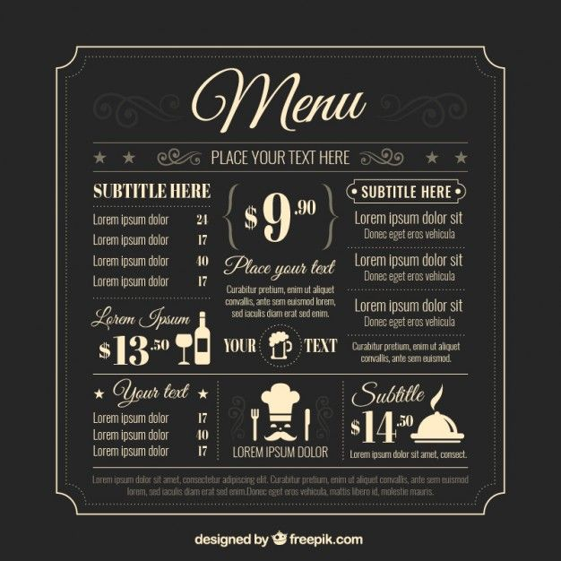 retro-menu-template_23-2147511261jpg (626×626) Sinful Menus - Free Drink Menu Template