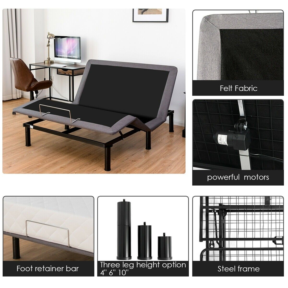 Queen Size Steel Frame Remote Adjustable Bed Base