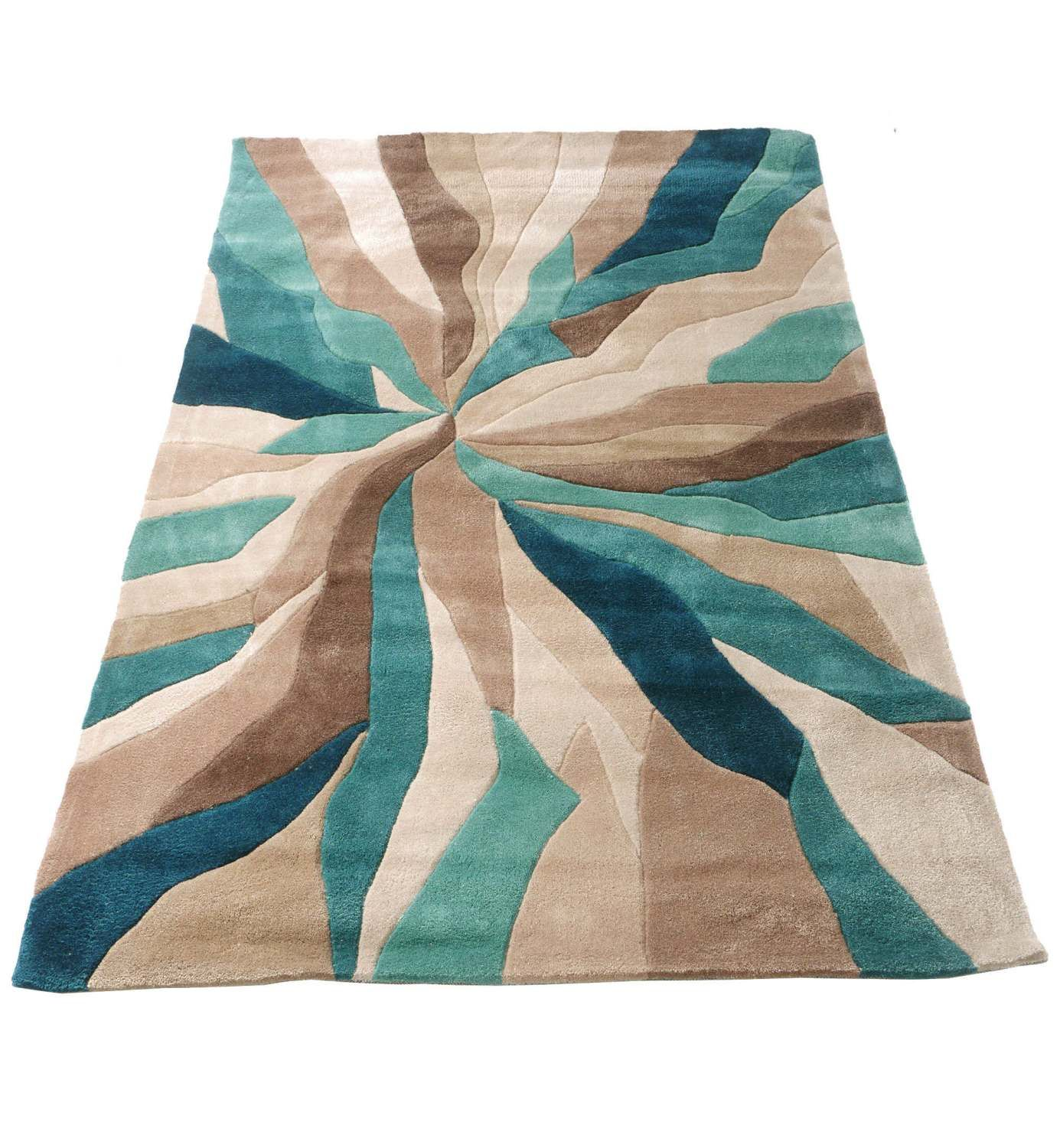 Nebula Rug In Beige, Teal Blue And Brown