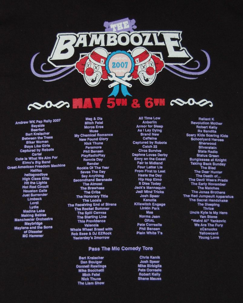 Bamboozle 2007 New Jersey festival concert black shirt Adult SMALL  #Bamboozle #MusicFestival