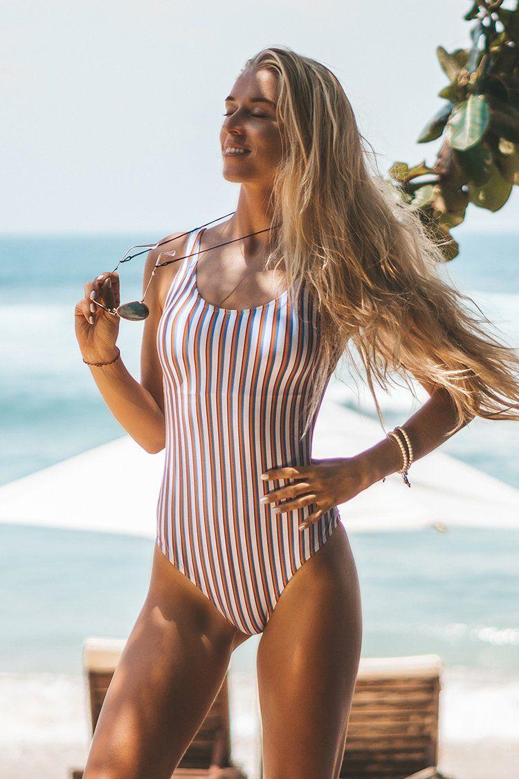 Cupshe Follow My Heart Stripe One Piece Swimsuit Fashion