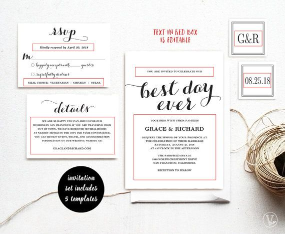 Printable wedding invitations template diy kraft wedding invitation beautiful wedding invitation set this wedding invitation template set includes five high resolution templates invitation card rsvp card details card stopboris Image collections