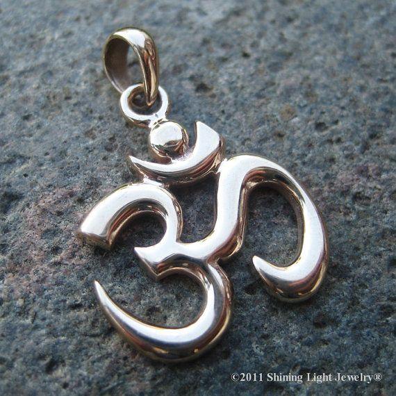 Bronze Om Symbol Necklace Charm Gold Tone By Shininglightjewelry