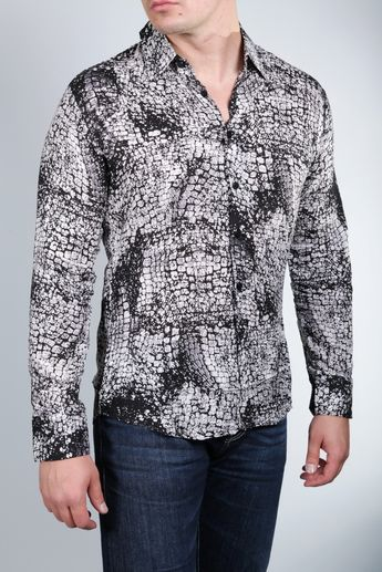 27978569 Roberto Cavalli Class Men's Crocodile Print Shirt Color: Black/white  Material: 100%