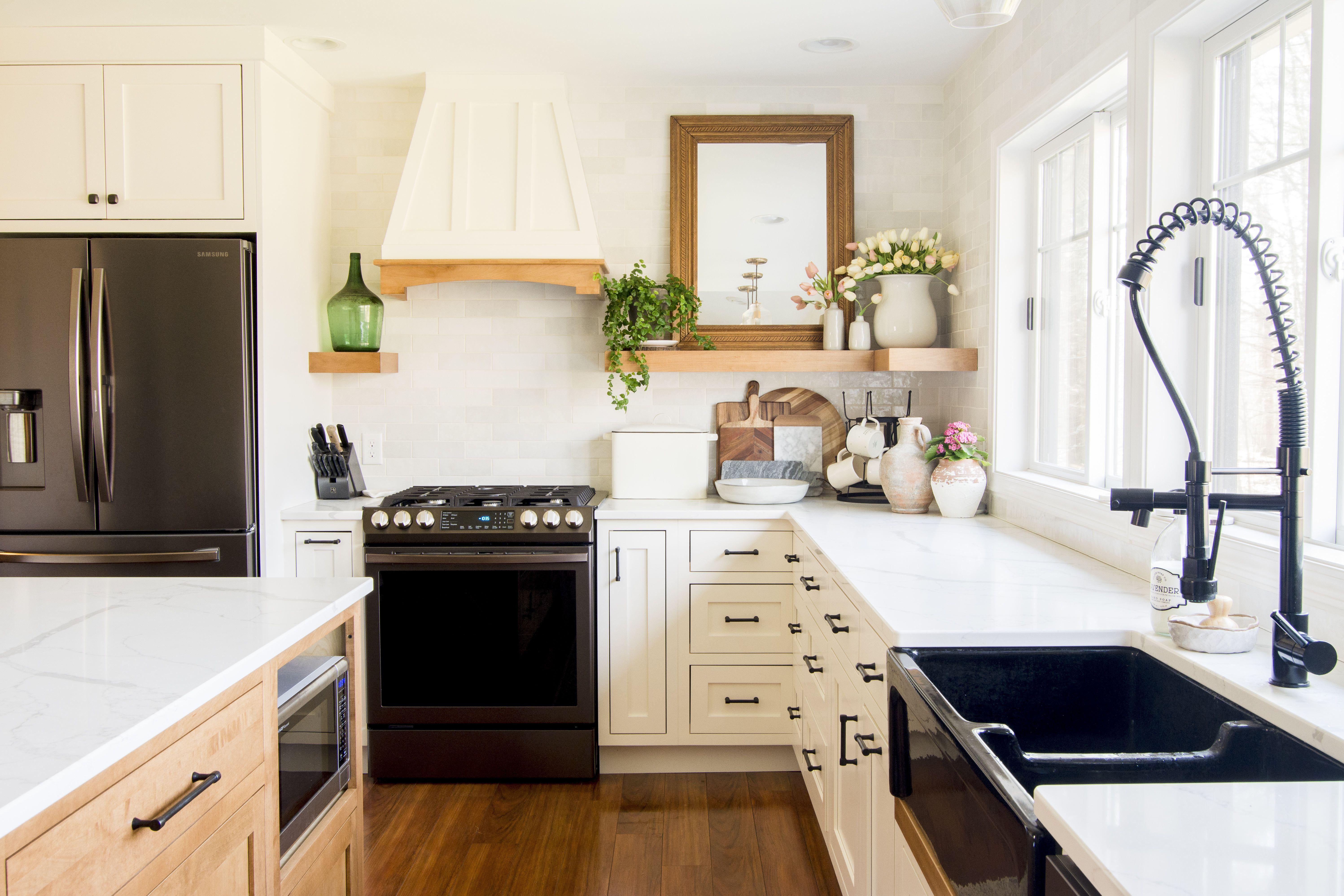 Kitchen With Matte Black Hardware And White Cabinets In 2020 Major Kitchen Appliances Kitchen White Kitchen Cabinets