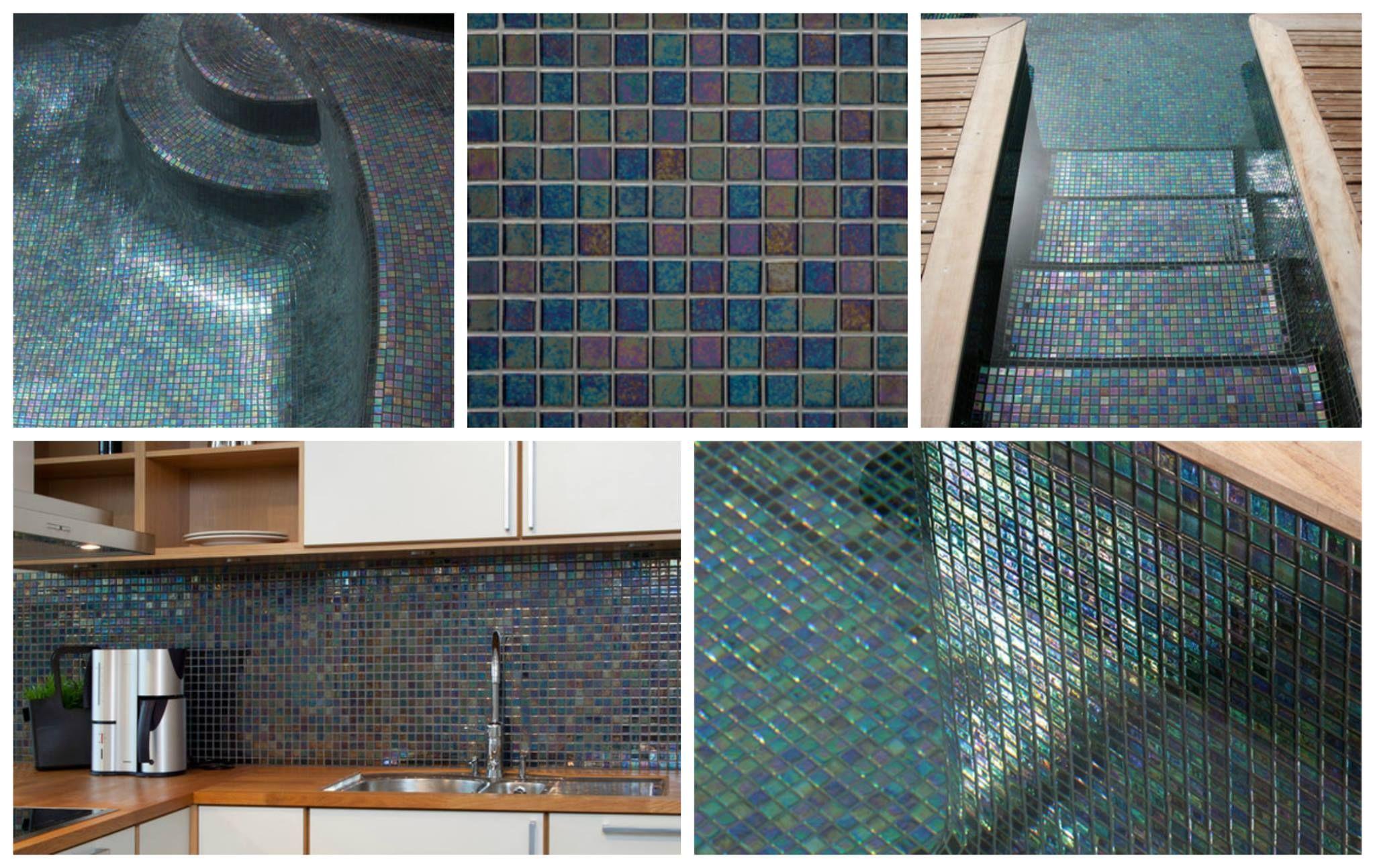 Mosaique noire nacr e emaux de verre ezarri ebano for Carrelage piscine mosaique