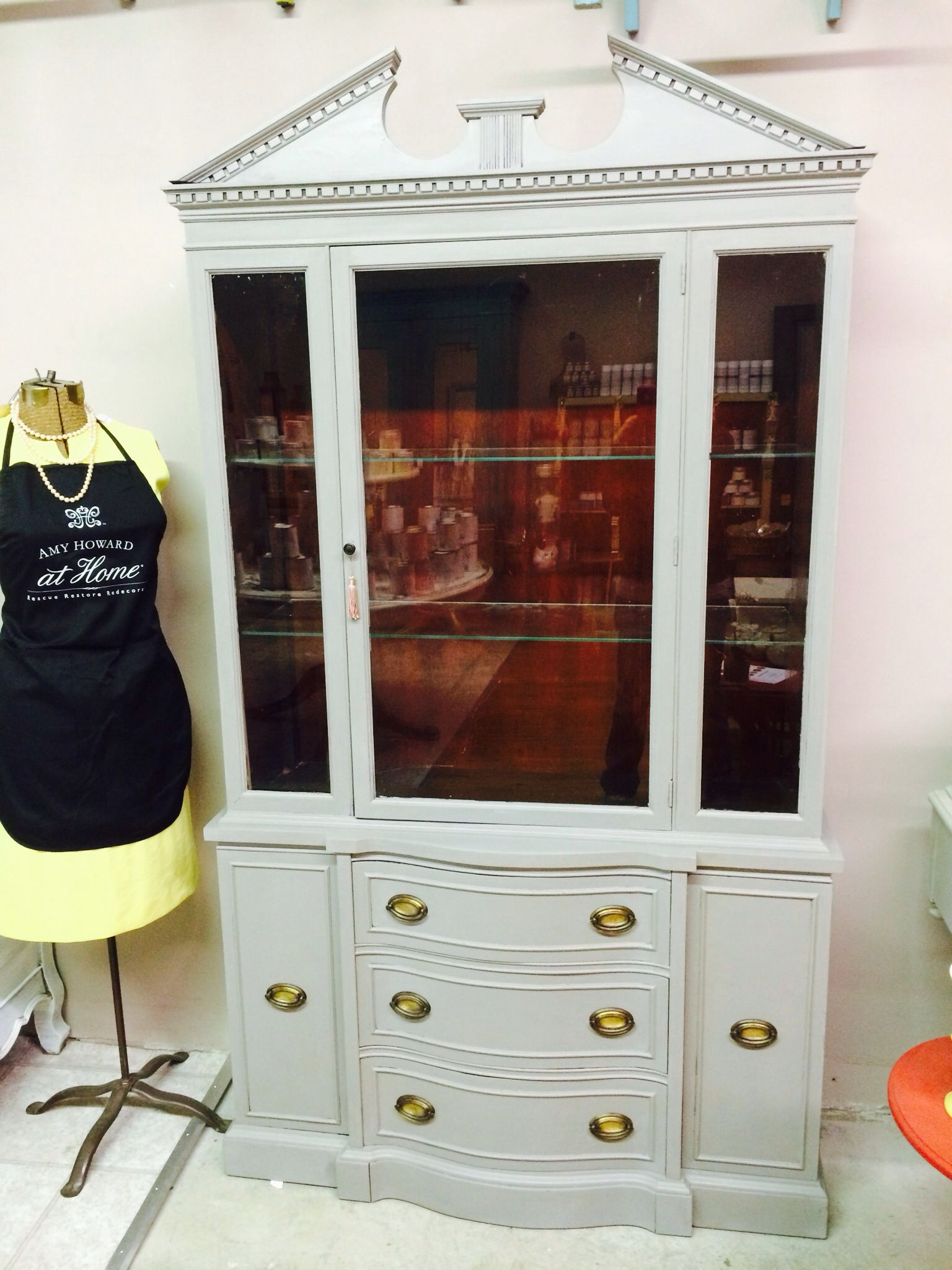 China Cabinet Painted In Amy Howard One Step Selznick Grey Painted China Cabinets Interior Renovation China Cabinet