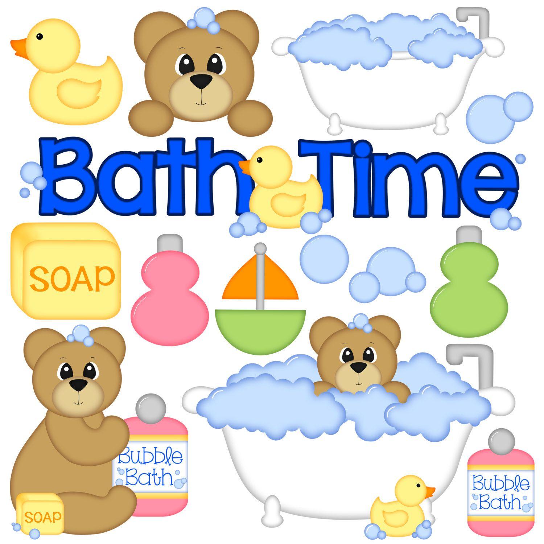Bath Time Digital Clipart Set Of 14 Bath Tub Bear Bubbles