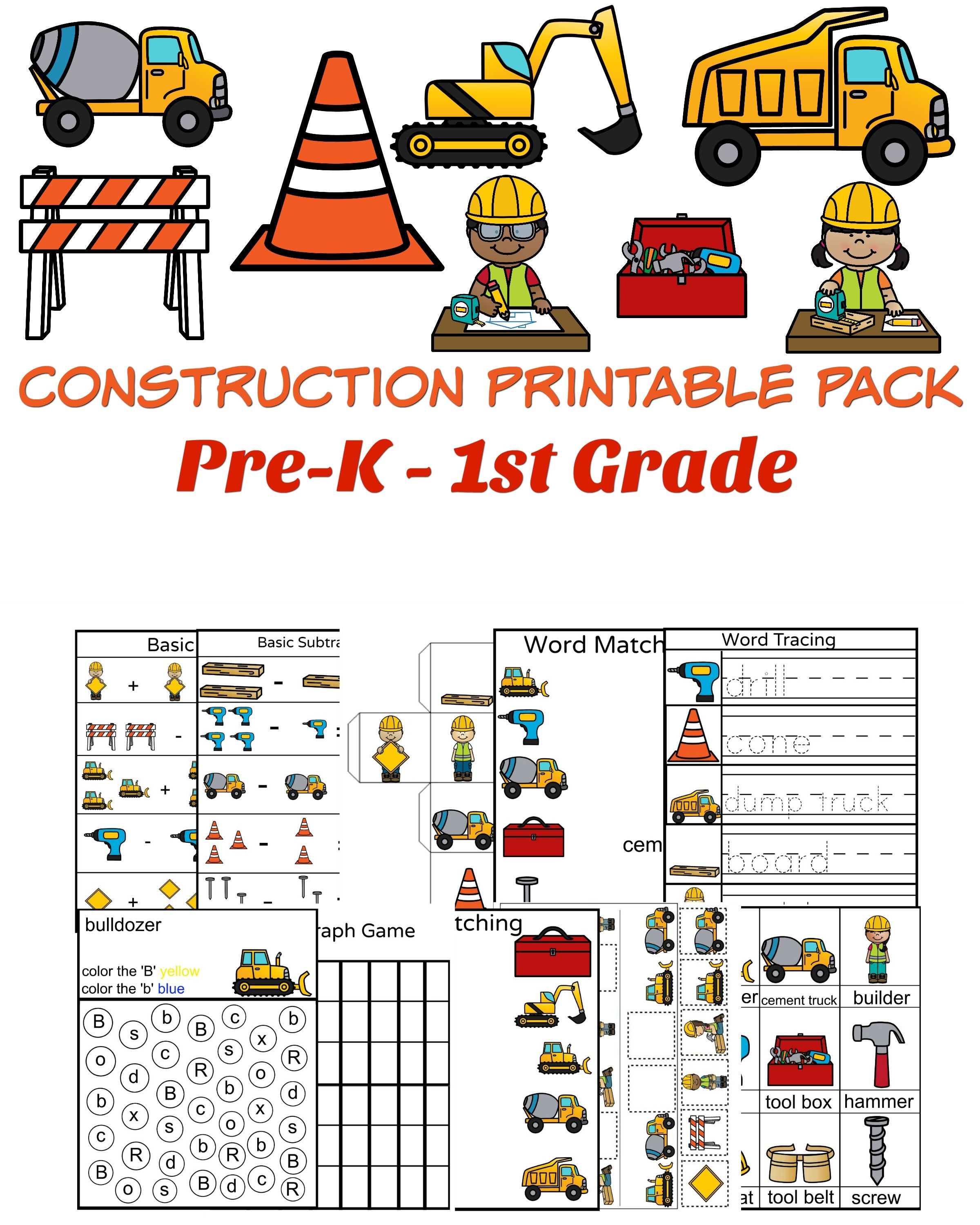 Worksheets Construction Math Worksheets construction themed math and literacy worksheets free printables printable with basic pictures word tracing picture matching more