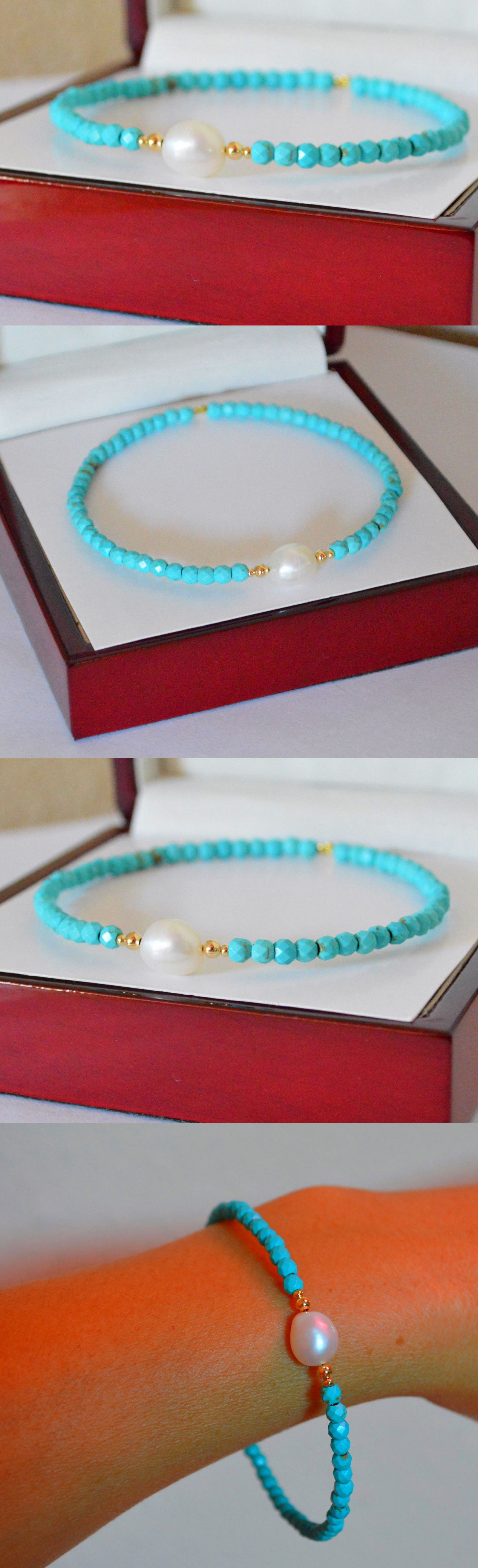 Gemstone 164315: Natural Blue Faceted Turquoise/Pearl Bangle Bracelet 14K Yellow Gold Handcrafted -> BUY IT NOW ONLY: $97.9 on eBay!